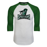 White/Dark Green Raglan Baseball T-Shirt-Primary Mark