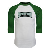 White/Dark Green Raglan Baseball T-Shirt-Wordmark
