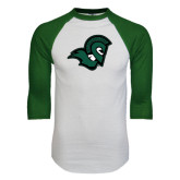 White/Dark Green Raglan Baseball T-Shirt-Spartan Head