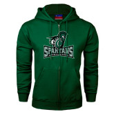Dark Green Fleece Full Zip Hood-Primary Mark