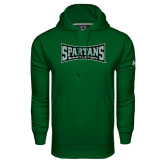 Under Armour Dark Green Performance Sweats Team Hood-Wordmark