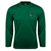 Performance Dark Green Longsleeve Shirt-Spartan w/ Shield