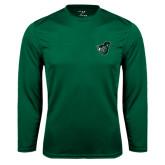 Syntrel Performance Dark Green Longsleeve Shirt-Spartan w/ Shield