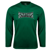 Performance Dark Green Longsleeve Shirt-Wordmark