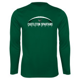 Performance Dark Green Longsleeve Shirt-Football Design