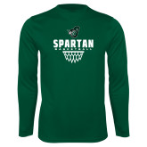 Performance Dark Green Longsleeve Shirt-Basketball Design