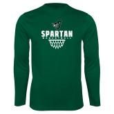 Syntrel Performance Dark Green Longsleeve Shirt-Basketball Design