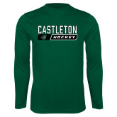 Performance Dark Green Longsleeve Shirt-Hockey Design