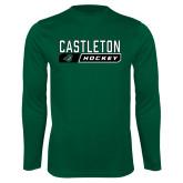 Syntrel Performance Dark Green Longsleeve Shirt-Hockey Design