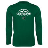 Performance Dark Green Longsleeve Shirt-Soccer Design