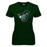 Ladies Dark Green T Shirt-Spartan w/ Shield