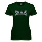 Ladies Dark Green T Shirt-Wordmark
