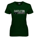 Ladies Dark Green T Shirt-Hockey Design