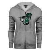 ENZA Ladies Grey Fleece Full Zip Hoodie-Spartan w/ Shield