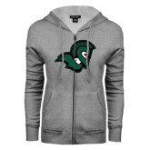 ENZA Ladies Grey Fleece Full Zip Hoodie-Spartan Head