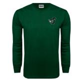 Dark Green Long Sleeve T Shirt-Spartan w/ Shield