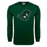 Dark Green Long Sleeve T Shirt-Spartan Head