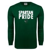 Dark Green Long Sleeve T Shirt-Spartan Pride