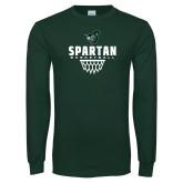 Dark Green Long Sleeve T Shirt-Basketball Design