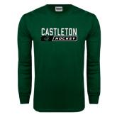 Dark Green Long Sleeve T Shirt-Hockey Design