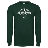 Dark Green Long Sleeve T Shirt-Soccer Design