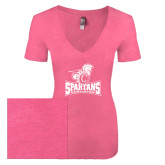Next Level Ladies Vintage Pink Tri Blend V-Neck Tee-Primary Mark