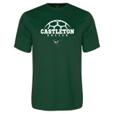 Performance Dark Green Tee-Soccer Design