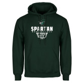 Dark Green Fleece Hood-Basketball Design