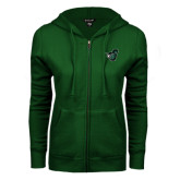 ENZA Ladies Dark Green Fleece Full Zip Hoodie-Spartan w/ Shield
