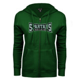ENZA Ladies Dark Green Fleece Full Zip Hoodie-Wordmark