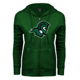 ENZA Ladies Dark Green Fleece Full Zip Hoodie-Spartan Head