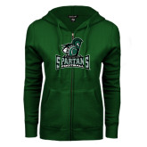ENZA Ladies Dark Green Fleece Full Zip Hoodie-Football