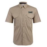 Khaki Short Sleeve Performance Fishing Shirt-Wordmark