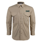 Khaki Long Sleeve Performance Fishing Shirt-Wordmark