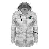 Ladies White Brushstroke Print Insulated Jacket-Spartan w/ Shield