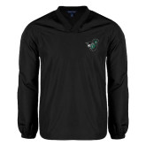 V Neck Black Raglan Windshirt-Spartan w/ Shield