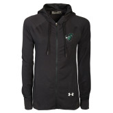 Ladies Under Armour Black Varsity Full Zip Hoodie-Spartan w/ Shield