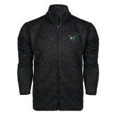 Black Heather Fleece Jacket-Spartan w/ Shield