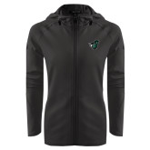Ladies Tech Fleece Full Zip Black Hooded Jacket-Spartan w/ Shield