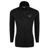 Black Heather Ladies Fleece Jacket-Spartan w/ Shield