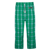 Green/White Flannel Pajama Pant-Wordmark