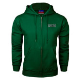 Dark Green Fleece Full Zip Hood-Wordmark