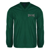V Neck Dark Green Raglan Windshirt-Wordmark