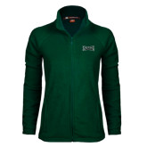 Ladies Fleece Full Zip Dark Green Jacket-Wordmark