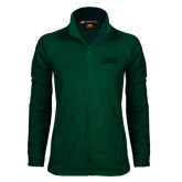 Ladies Fleece Full Zip Dark Green Jacket-Wordmark Tone