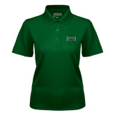 Ladies Dark Green Dry Mesh Polo-Wordmark