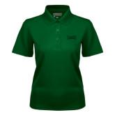 Ladies Dark Green Dry Mesh Polo-Wordmark Tone