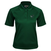 Ladies Dark Green Textured Saddle Shoulder Polo-Spartan w/ Shield