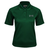 Ladies Dark Green Textured Saddle Shoulder Polo-Wordmark