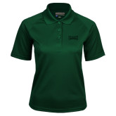 Ladies Dark Green Textured Saddle Shoulder Polo-Wordmark Tone